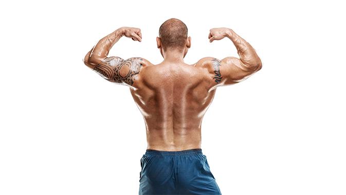 Eine weitere Pflichtpose bei den Männern - Doppelbizeps Rückenseite