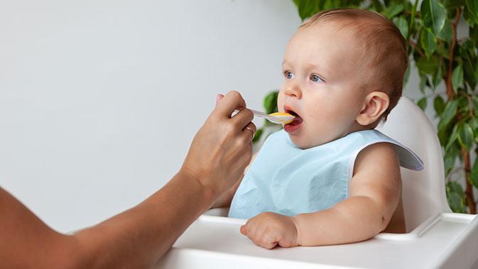 Beikost in Form von Gemüse-Brei sollte circa zwischen dem fünften und siebten Monat zum ersten Mal gefüttert werden.
